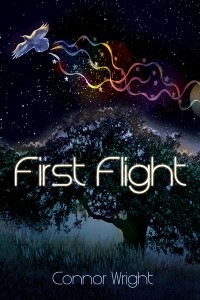 The cover for First Flight, featuring a raven, some ribbons and stars, and an oak tree.